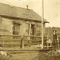 George Mann Jr. at the telegraph office at Moose Creek, Alberta