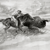 Painting of a Bison Hunt