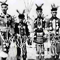 Aboriginal boys in traditional dress at Pion-Era