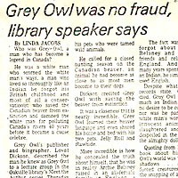 Grey Owl was no Fraud