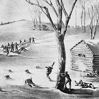 Sketch of fighting at Duck Lake