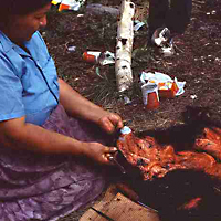 Bear meat and hide preparation