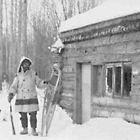 Trapper and cabin near Fort Resolution, NWT